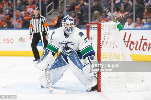 Goalie Richard Bachman of the Vancouver Canucks skates against the Edmonton Oilers on April 9 2017 at Rogers Place in Edmonton Alberta Canada