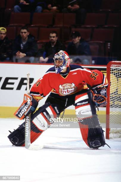 Goalie Roberto Luongo of the AcadieBathurst Titan defends the net during the Quebec Major Junior Hockey League AllStar game circa 1999