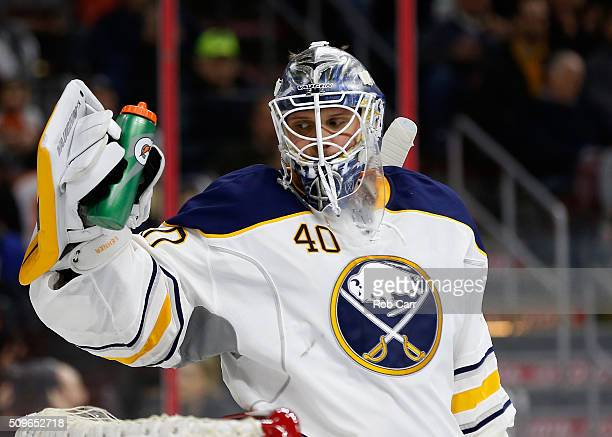 Goalie Robin Lehner of the Buffalo Sabres looks after giving up a goal in the second period against the Philadelphia Flyers at Wells Fargo Center on...