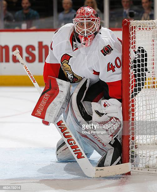 Goalie Robin Lehner of the Ottawa Senators defends the goal against the Colorado Avalanche at Pepsi Center on January 8 2015 in Denver Colorado