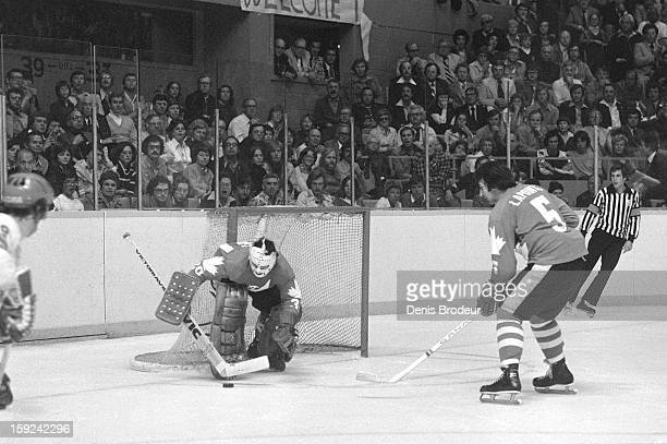 Goalie Rogatien Vachon and Guy Lapointe of team Canada defend the goal against the USSR during a Canada Cup game at the Maple Leaf Gardens on...