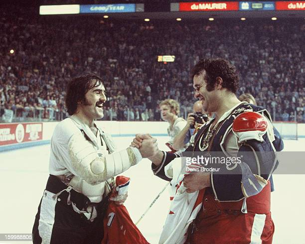 Goalie Rogatien Vachon of team Canada and goalie Vladimir Dzurilla team Czechoslovakia trade Team Jerseys as a gesture of sportsmanship after the...