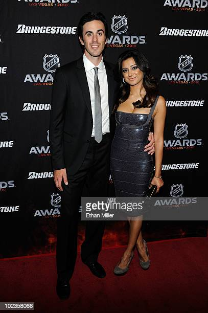 Goalie Ryan Miller of the Buffalo Sabres and Noureen DeWulf arrive during the red carpet arrivals for the 2010 NHL Awards at the Palms Casino Resort...