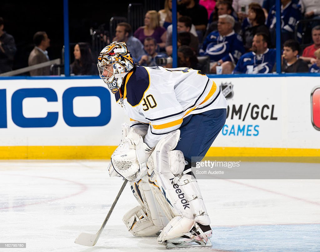 Goalie Ryan Miller #30 of the Buffalo Sabres guards his goal during the first period of the game against the Tampa Bay Lightning at the Tampa Bay Times Forum on February 26, 2013 in Tampa, Florida.