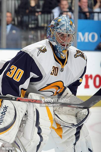 Goalie Ryan Miller of the Buffalo Sabres guards the net against the Toronto Maple Leafs during their NHL game at the Air Canada Centre on April 8...