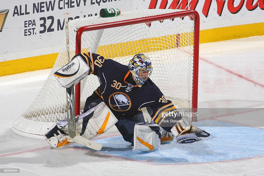 Goalie Ryan Miller of the Buffalo Sabres guards the net against the Boston Bruins during a game at HSBC Arena on January 29 2010 in Buffalo New York