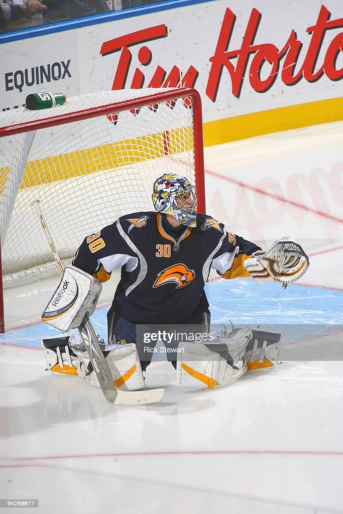 Goalie Ryan Miller of the Buffalo Sabres guards the net during the game against the Washington Capitals on December 9 2009 at HSBC Arena in Buffalo...