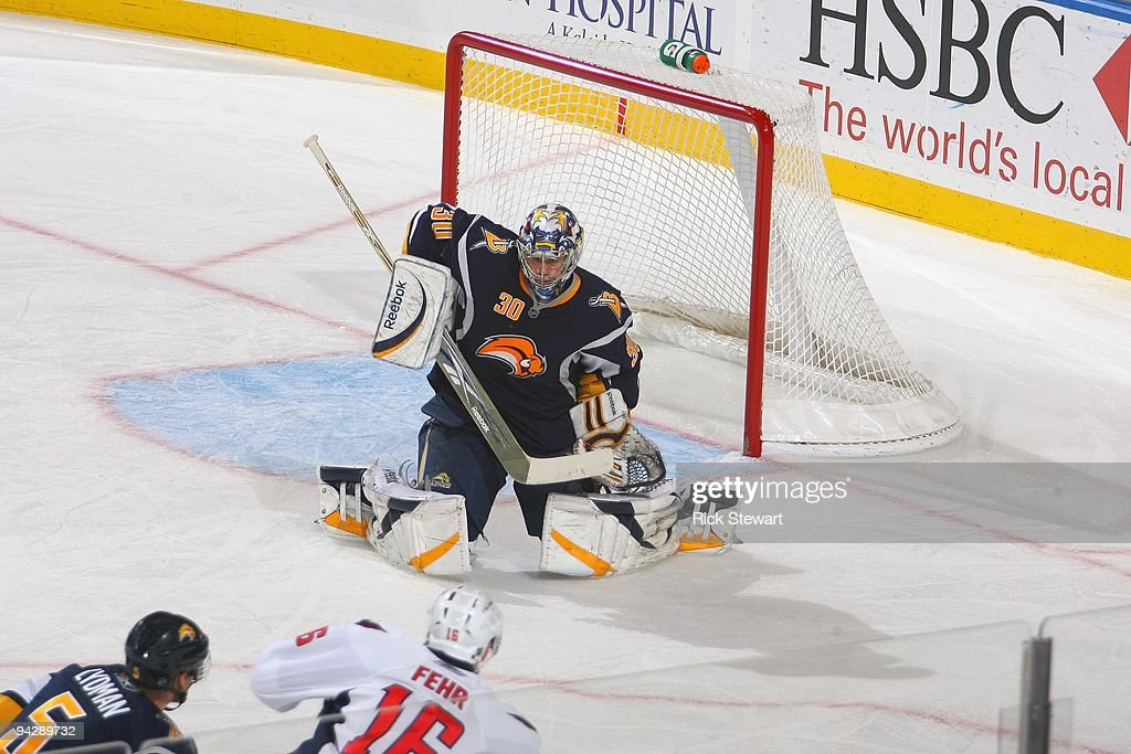 Goalie Ryan Miller of the Buffalo Sabres guards the net durning the game against the Washington Capitals on December 9 2009 at HSBC Arena in Buffalo...