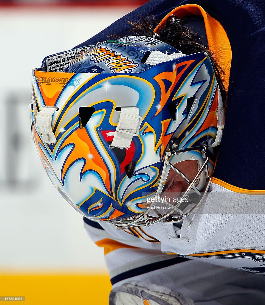Goalie Ryan Miller #30 of the Buffalo Sabres waits for a faceoff giving a good view of his mask and helmet during an NHL hockey game against the New Jersey Devils at Prudential Center on January 24, 2012 in Newark, New Jersey.