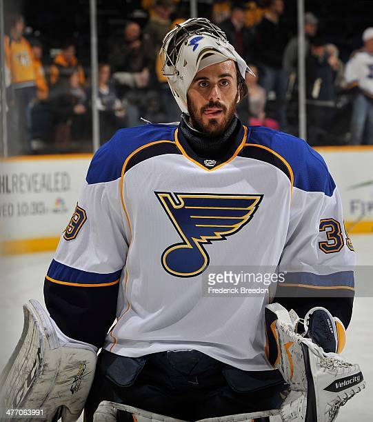 Goalie Ryan Miller of the St Louis Blues skates during warm ups prior to a game against the Nashville Predators at Bridgestone Arena on March 6 2014...