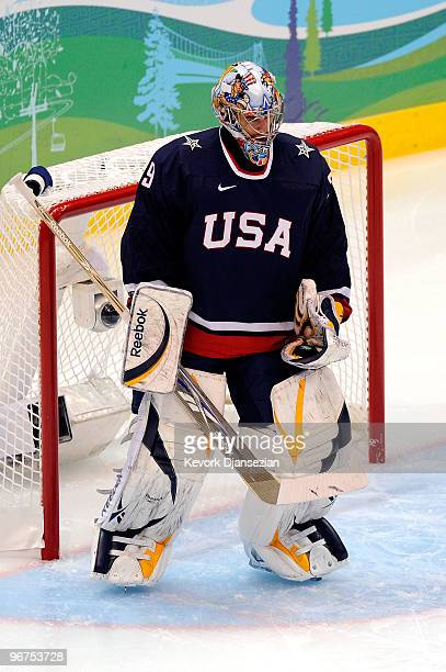 Goalie Ryan Miller of the United States stands on the ice during a stop in play against Switzerland during the ice hockey men's preliminary game on...