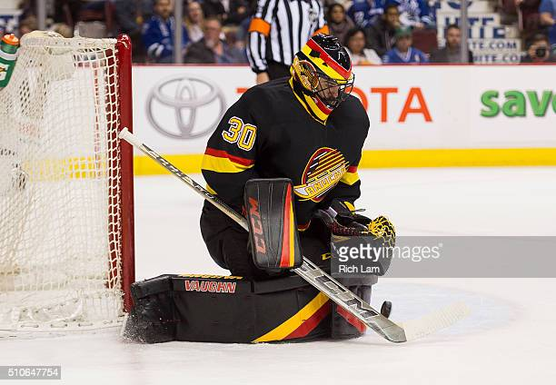 Goalie Ryan Miller of the Vancouver Canucks makes a save against the Toronto Maple Leafs in NHL action on February 2016 at Rogers Arena in Vancouver...
