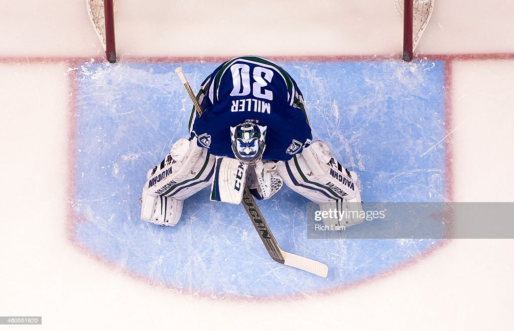 Goalie Ryan Miller of the Vancouver Canucks stands in his crease during NHL action against the New York Rangers at Rogers Arena on December 13 2014...