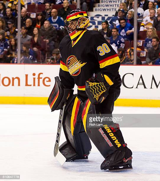 Goalie Ryan Miller of the Vancouver Canucks watches the play against the Toronto Maple Leafs in NHL action on February 2016 at Rogers Arena in...