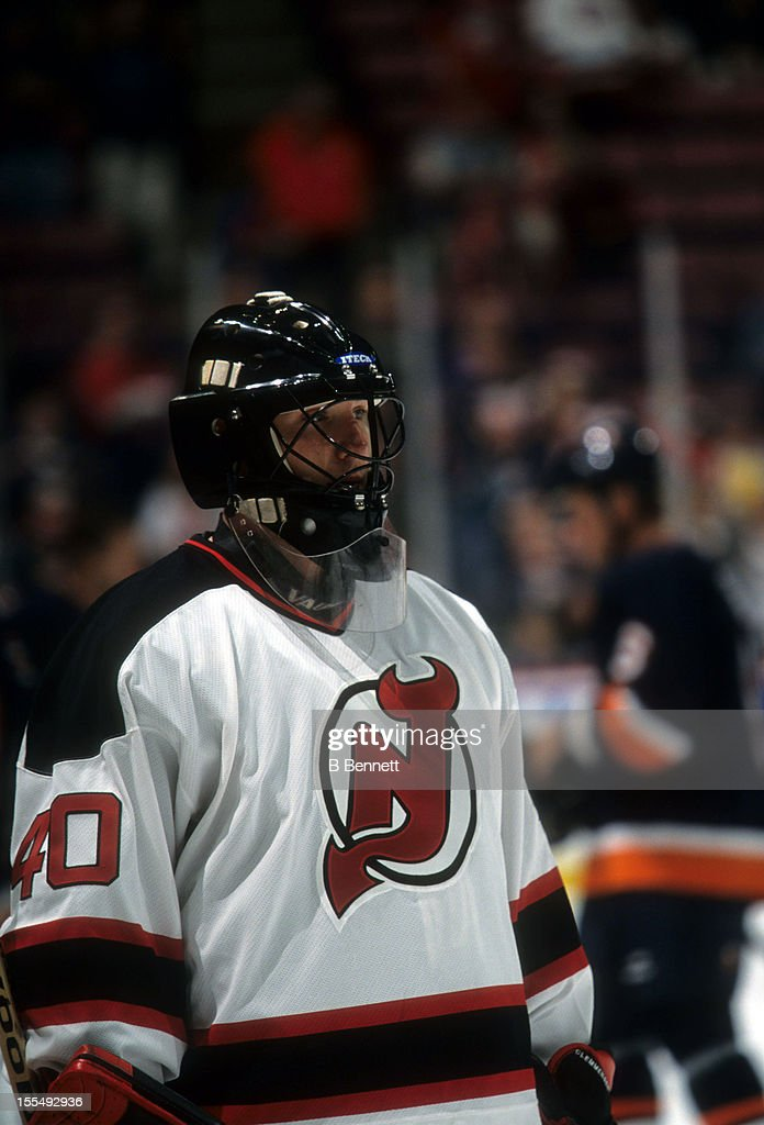 Goalie Scott Clemmensen of the New Jersey Devils skates on the ice during warmups before the game against the New York Islanders on October 11 2001...