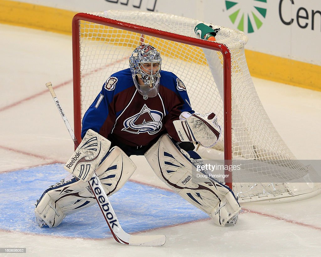 Goalie Semyon Varlamov #1 of the Colorado Avalanche defends the goal against the Anaheim Ducks at the Pepsi Center on February 6, 2013 in Denver, Colorado. The Ducks defeated the Avalanche 3-0.