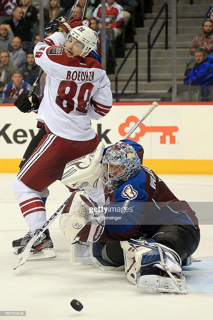 Goalie <a gi-track='captionPersonalityLinkClicked' href=/galleries/search?phrase=Semyon+Varlamov&family=editorial&specificpeople=6264893 ng-click='$event.stopPropagation()'>Semyon Varlamov</a> #1 of the Colorado Avalanche defends the goal against <a gi-track='captionPersonalityLinkClicked' href=/galleries/search?phrase=Mikkel+Boedker&family=editorial&specificpeople=4697252 ng-click='$event.stopPropagation()'>Mikkel Boedker</a> #89 of the Phoenix Coyotes at the Pepsi Center on February 11, 2013 in Denver, Colorado. The Coyotes defeated the Avalanche 3-2 in overtime.