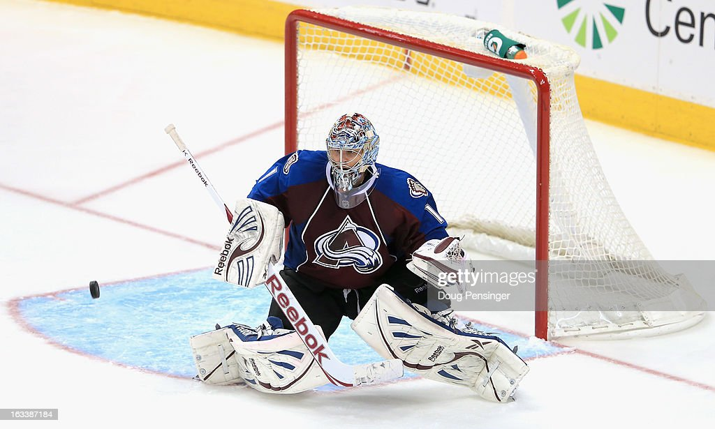 Goalie <a gi-track='captionPersonalityLinkClicked' href=/galleries/search?phrase=Semyon+Varlamov&family=editorial&specificpeople=6264893 ng-click='$event.stopPropagation()'>Semyon Varlamov</a> #1 of the Colorado Avalanche defends the goal against the puck against the Chicago Blackhawks at the Pepsi Center on March 8, 2013 in Denver, Colorado. The Avalanche defeated the Blackhawks 6-2 to end the Chicago's 30 game undefeated streak.