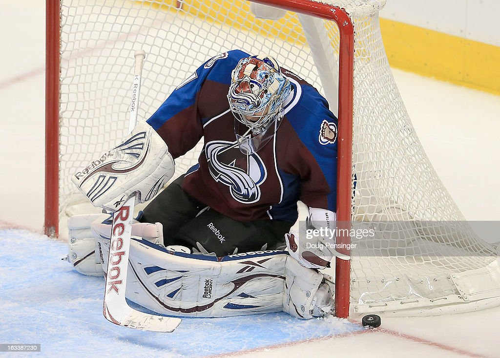 Goalie <a gi-track='captionPersonalityLinkClicked' href=/galleries/search?phrase=Semyon+Varlamov&family=editorial&specificpeople=6264893 ng-click='$event.stopPropagation()'>Semyon Varlamov</a> #1 of the Colorado Avalanche defends the goal against the Chicago Blackhawks at the Pepsi Center on March 8, 2013 in Denver, Colorado. The Avalanche won 6-2 to end the Blackhawks 30 game undefeated streak.
