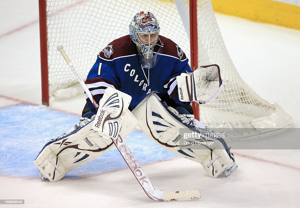 Goalie <a gi-track='captionPersonalityLinkClicked' href=/galleries/search?phrase=Semyon+Varlamov&family=editorial&specificpeople=6264893 ng-click='$event.stopPropagation()'>Semyon Varlamov</a> #1 of the Colorado Avalanche defends the goal against the Nashville Predators at the Pepsi Center on March 30, 2013 in Denver, Colorado. The Avalanche defeated the Predators 1-0 in overtime.