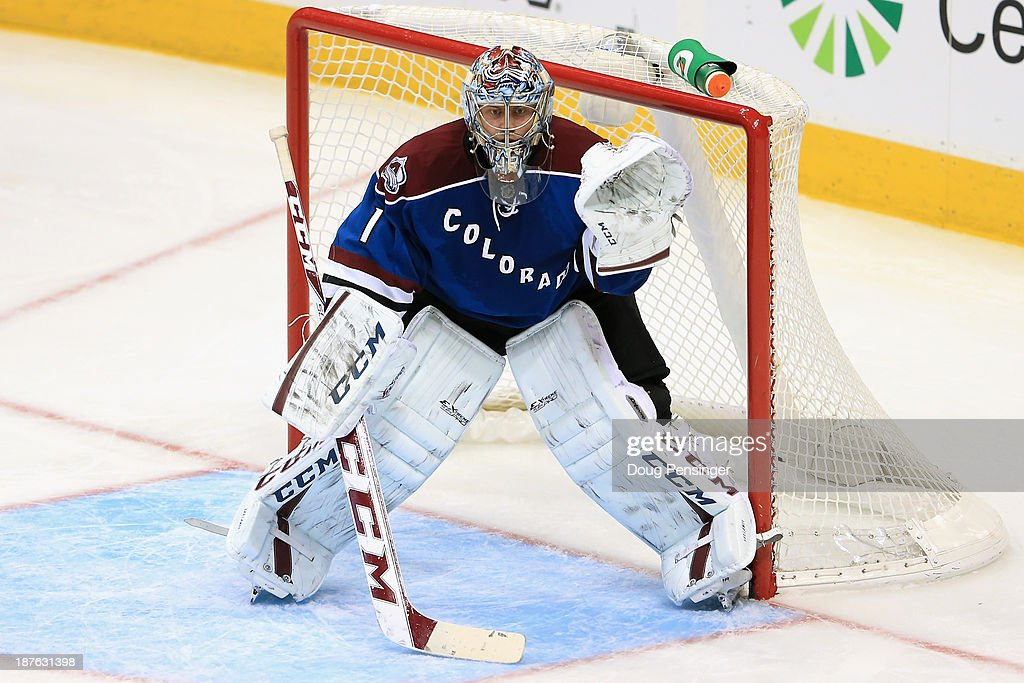 Goalie <a gi-track='captionPersonalityLinkClicked' href=/galleries/search?phrase=Semyon+Varlamov&family=editorial&specificpeople=6264893 ng-click='$event.stopPropagation()'>Semyon Varlamov</a> #1 of the Colorado Avalanche defends the goal against the Washington Capitals at Pepsi Center on November 10, 2013 in Denver, Colorado. The Avalanche defeated the Capitals 4-1.