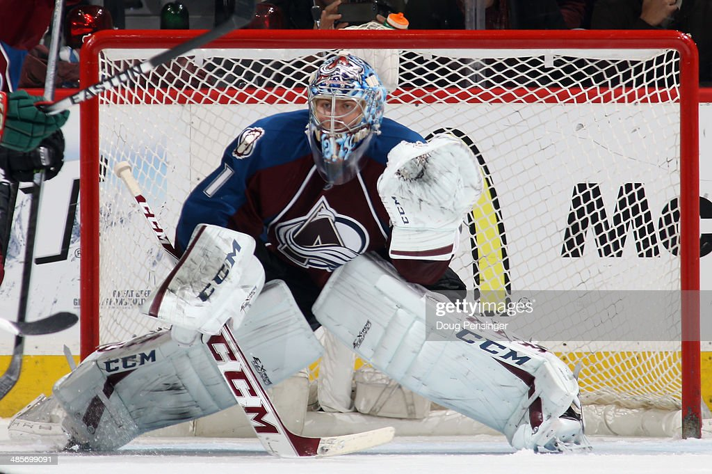Goalie Semyon Varlamov #1 of the Colorado Avalanche defends the goal against the Minnesota Wild in Game Two of the First Round of the 2014 NHL Stanley Cup Playoffs at Pepsi Center on April 19, 2014 in Denver, Colorado. Varlamov had 30 saves as the Avalanche defeated the Wild 4-2 to take a 2-0 game lead in the series.