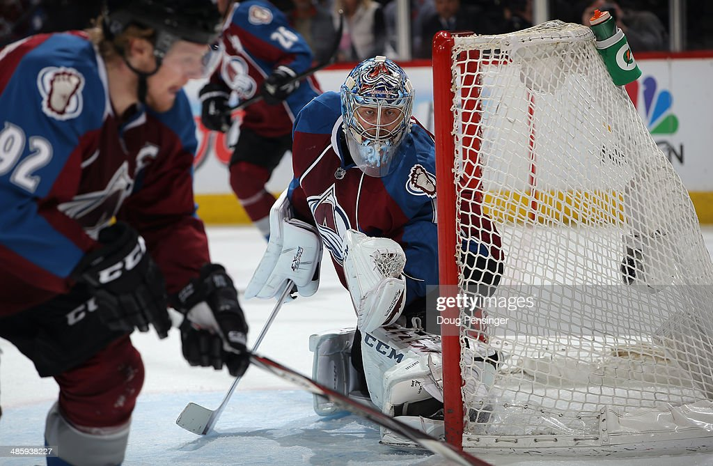 Goalie <a gi-track='captionPersonalityLinkClicked' href=/galleries/search?phrase=Semyon+Varlamov&family=editorial&specificpeople=6264893 ng-click='$event.stopPropagation()'>Semyon Varlamov</a> #1 of the Colorado Avalanche defends the goal against the Minnesota Wild in Game Two of the First Round of the 2014 NHL Stanley Cup Playoffs at Pepsi Center on April 19, 2014 in Denver, Colorado. The Avalanche defeated the Wild 4-2 to take a 2-0 game lead in the series.