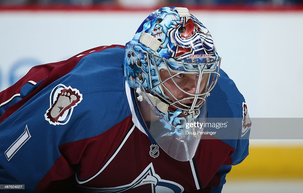 Goalie <a gi-track='captionPersonalityLinkClicked' href=/galleries/search?phrase=Semyon+Varlamov&family=editorial&specificpeople=6264893 ng-click='$event.stopPropagation()'>Semyon Varlamov</a> #1 of the Colorado Avalanche defends the goal against the Minnesota Wild in Game Five of the First Round of the 2014 NHL Stanley Cup Playoffs at Pepsi Center on April 26, 2014 in Denver, Colorado. The Avalanche defeated the Wild 4-3 in overtime to take a 3-2 game lead in the series.