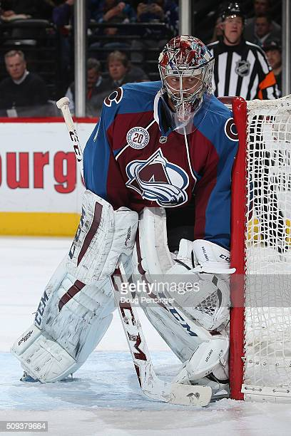 Goalie Semyon Varlamov of the Colorado Avalanche defends the goal against the Vancouver Canucks at Pepsi Center on February 9 2016 in Denver Colorado...