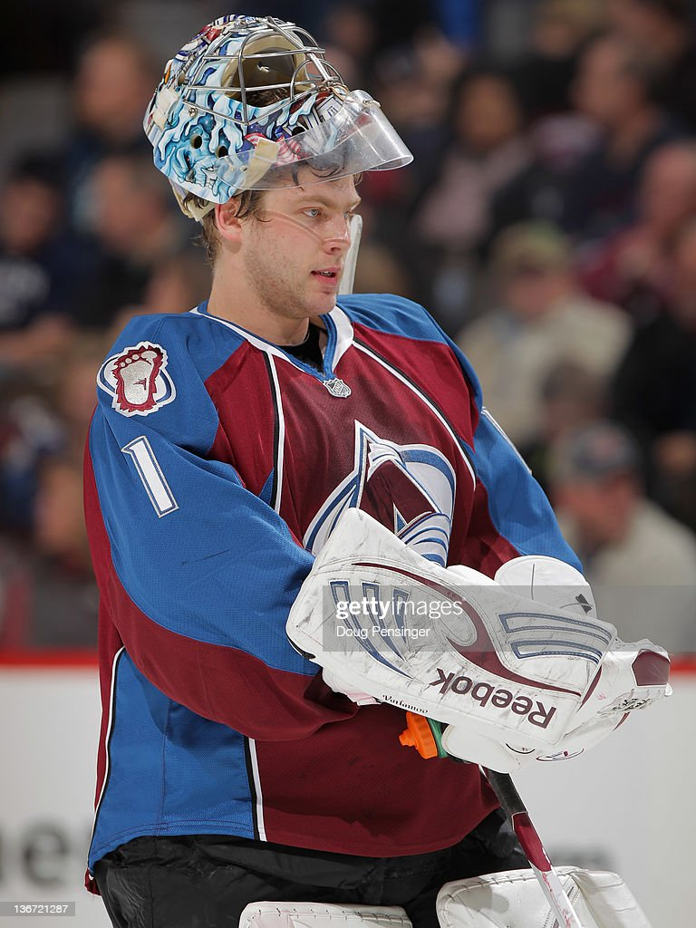 Goalie Semyon Varlamov #1 of the Colorado Avalanche looks on during a break in the action as the Avalanche was defeated by the Nashville Predators 4-1 at the Pepsi Center on January 10, 2012 in Denver, Colorado.