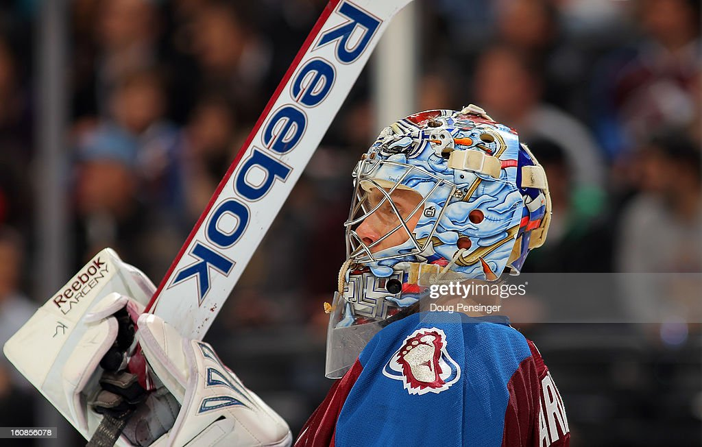 Goalie Semyon Varlamov #1 of the Colorado Avalanche looks on during a break in the action against the Anaheim Ducks at the Pepsi Center on February 6, 2013 in Denver, Colorado. The Ducks defeated the Avalanche 3-0.