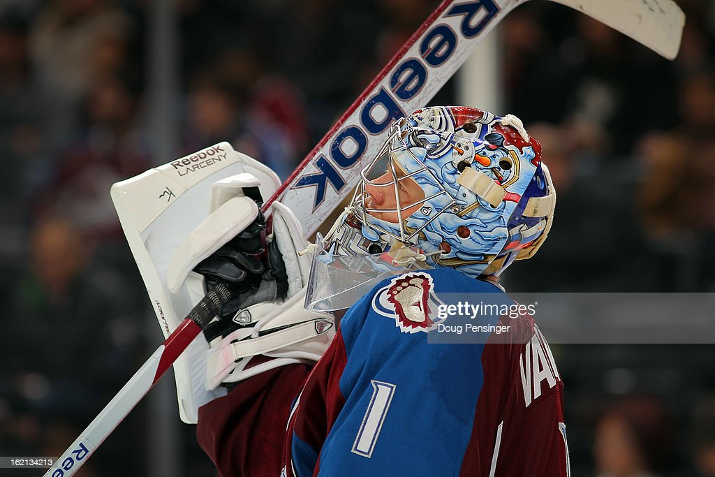 Goalie <a gi-track='captionPersonalityLinkClicked' href=/galleries/search?phrase=Semyon+Varlamov&family=editorial&specificpeople=6264893 ng-click='$event.stopPropagation()'>Semyon Varlamov</a> #1 of the Colorado Avalanche looks on during a break in the action against the Phoenix Coyotes at the Pepsi Center on February 11, 2013 in Denver, Colorado. The Coyotes defeated the Avalanche 3-2 in overtime.