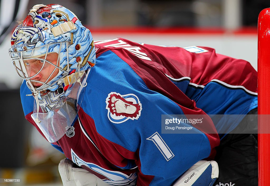 Goalie <a gi-track='captionPersonalityLinkClicked' href=/galleries/search?phrase=Semyon+Varlamov&family=editorial&specificpeople=6264893 ng-click='$event.stopPropagation()'>Semyon Varlamov</a> #1 of the Colorado Avalanche looks on during a break in the action against the Calgary Flames at the Pepsi Center on February 28, 2013 in Denver, Colorado. The Avalanche defeated the Flames 5-4.
