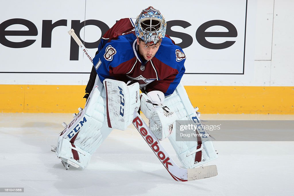 Goalie <a gi-track='captionPersonalityLinkClicked' href=/galleries/search?phrase=Semyon+Varlamov&family=editorial&specificpeople=6264893 ng-click='$event.stopPropagation()'>Semyon Varlamov</a> #1 of the Colorado Avalanche looks on during a break in the action against the Anaheim Ducks during preseason action at Pepsi Center on September 18, 2013 in Denver, Colorado. The Ducks defeated the Avalanche 2-1.