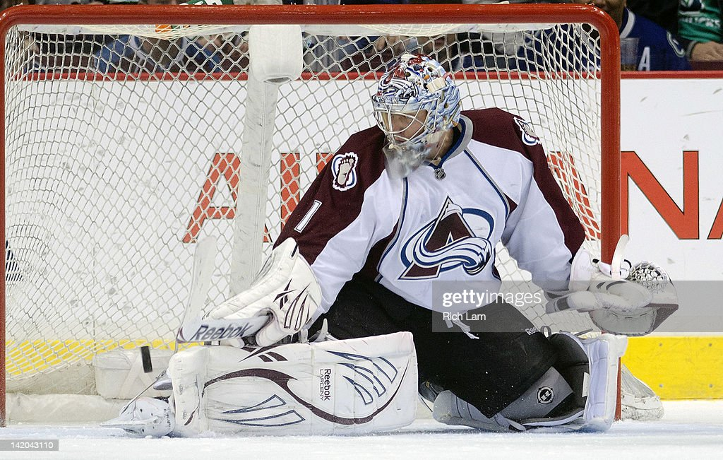 Goalie <a gi-track='captionPersonalityLinkClicked' href=/galleries/search?phrase=Semyon+Varlamov&family=editorial&specificpeople=6264893 ng-click='$event.stopPropagation()'>Semyon Varlamov</a> #1 of the Colorado Avalanche makes a pad save against the Vancouver Canucks during the first period in NHL action on March 28, 2012 at Rogers Arena in Vancouver, British Columbia, Canada.
