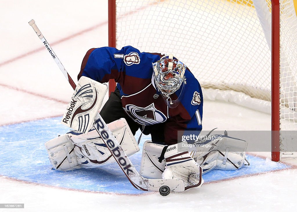 Goalie <a gi-track='captionPersonalityLinkClicked' href=/galleries/search?phrase=Semyon+Varlamov&family=editorial&specificpeople=6264893 ng-click='$event.stopPropagation()'>Semyon Varlamov</a> #1 of the Colorado Avalanche makes a save against the Calgary Flames at the Pepsi Center on February 28, 2013 in Denver, Colorado. The Avalanche defeated the Flames 5-4.