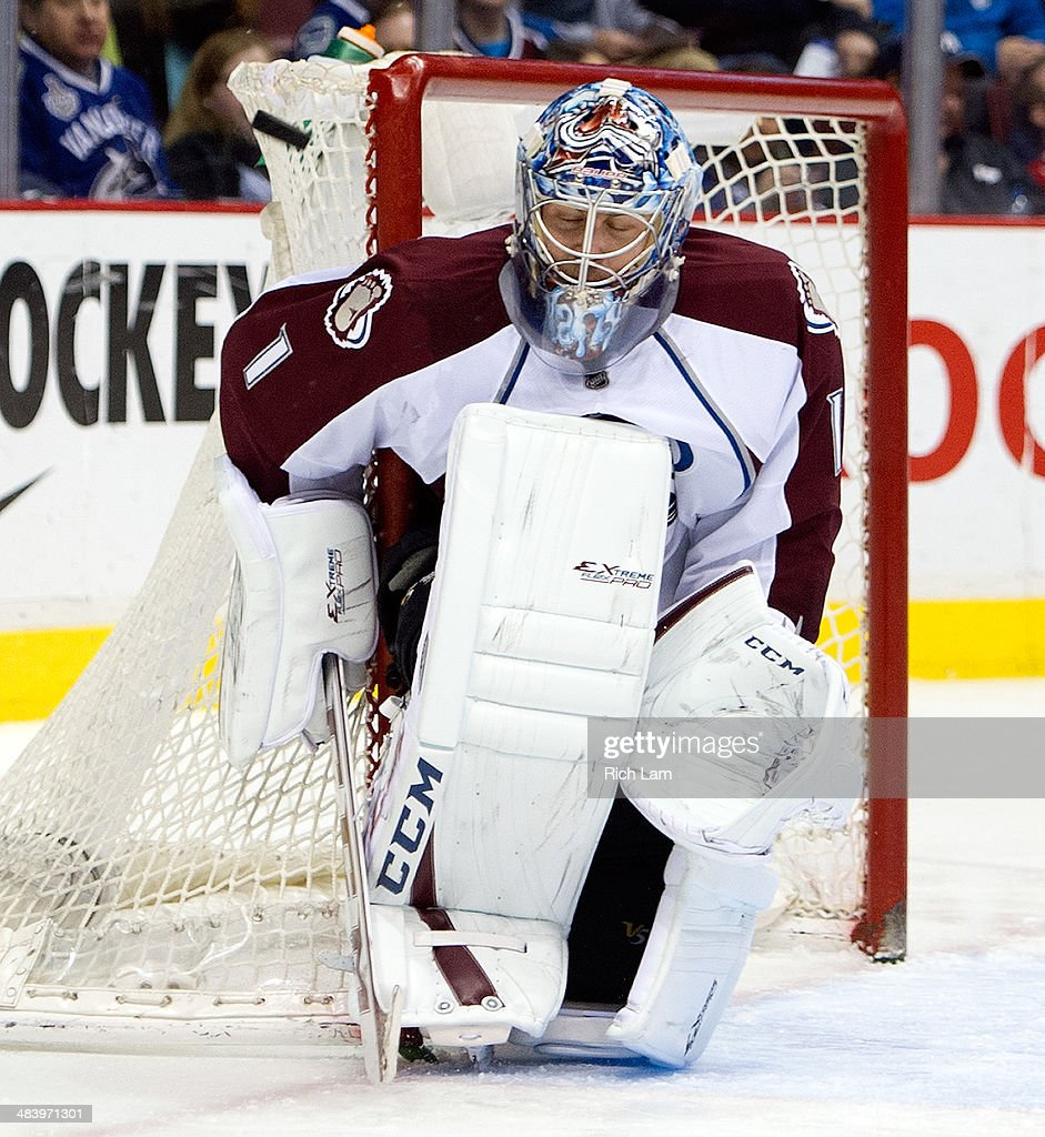 Goalie <a gi-track='captionPersonalityLinkClicked' href=/galleries/search?phrase=Semyon+Varlamov&family=editorial&specificpeople=6264893 ng-click='$event.stopPropagation()'>Semyon Varlamov</a> #1 of the Colorado Avalanche makes a save against the Vancouver Canucks during the second period in NHL action on April 10, 2014 at Rogers Arena in Vancouver, British Columbia, Canada.