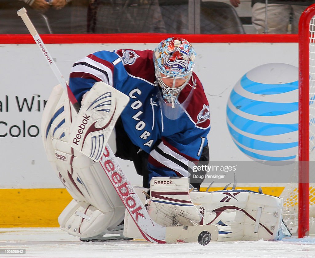 Goalie <a gi-track='captionPersonalityLinkClicked' href=/galleries/search?phrase=Semyon+Varlamov&family=editorial&specificpeople=6264893 ng-click='$event.stopPropagation()'>Semyon Varlamov</a> #1 of the Colorado Avalanche turns away the puck against the Nashville Predators at the Pepsi Center on March 30, 2013 in Denver, Colorado. The Avalanche defeated the Predators 1-0 in overtime.