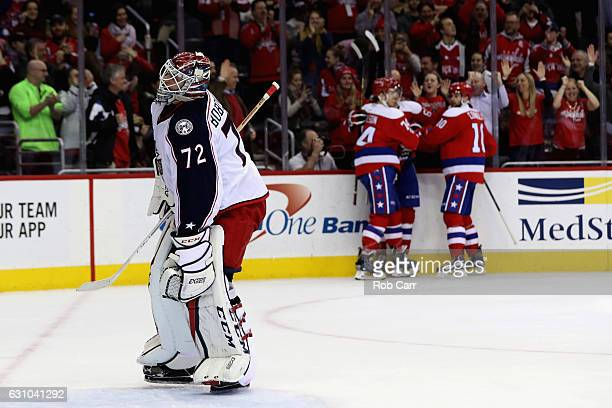 Goalie Sergei Bobrovsky of the Columbus Blue Jackets reacts after giving up the fourth goal of the game to the Washington Capitals in the second...