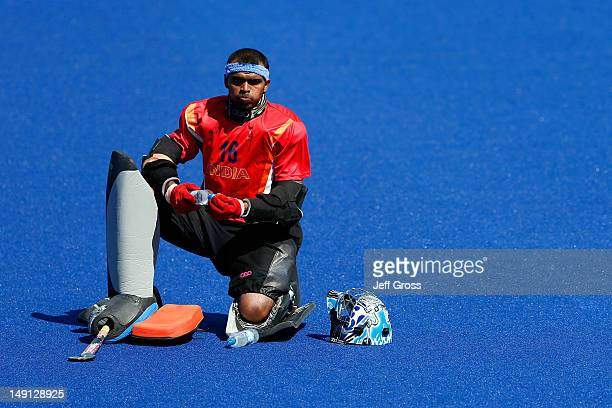 Goalie Sreejesh Parattu Raveendran of India looks on during practice ahead of the 2012 London Olympic Games at the Olympic Park on July 23 2012 in...