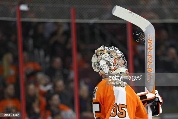 Goalie Steve Mason of the Philadelphia Flyers looks on after allowing a goal to Cam Atkinson of the Columbus Blue Jackets during the first period at...