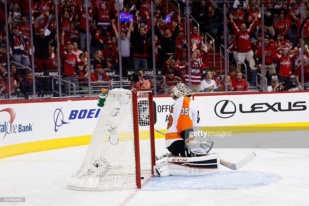 Goalie Steve Mason #35 of the Philadelphia Flyers reacts after giving up the second goal to the Washington Capitals in the second period of Game Two of the Eastern Conference Quarterfinals during the 2016 NHL Stanley Cup Playoffs at Verizon Center on April 16, 2016 in Washington, DC.