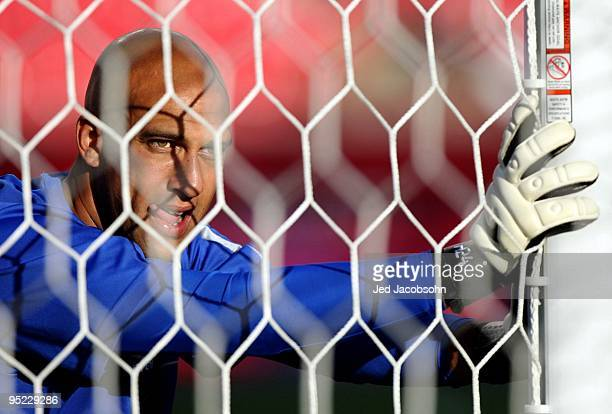Goalie Tim Howard of Everton FC stretches before taking on the MLS AllStars before the 2009 MLS AllStar Game at Rio Tinto Stadium on July 29 2009 in...