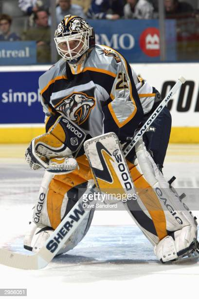 Goalie Tomas Vokoun of the Nashville Predators protects the net during the game against the Toronto Maple Leafs at Air Canada Center on January 6...