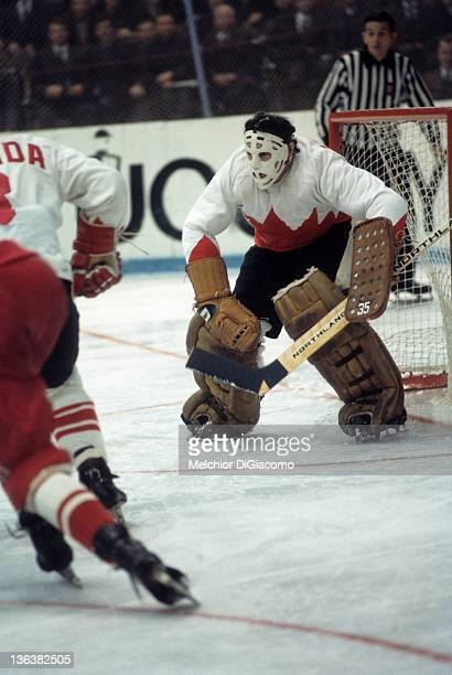 Goalie Tony Esposito of Canada defends the net against the Soviet Union during the 1972 Summit Series at the Luzhniki Ice Palace in Moscow Russia