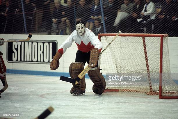 Goalie Tony Esposito of Canada defends the net during the game against the Soviet Union in the 1972 Summit Series at the Luzhniki Ice Palace in...