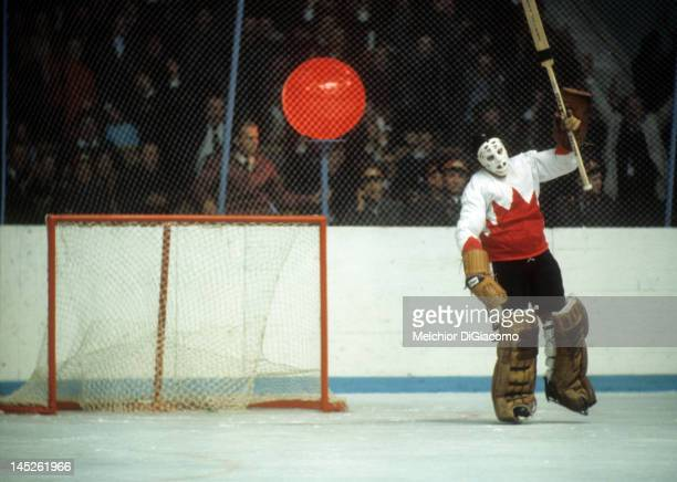 Goalie Tony Esposito of Canada gets ready to slam his stick onto the ice in frustration after letting a goal in by the Soviet Union during Game 5 of...