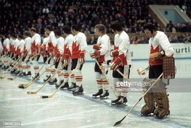 Goalie Tony Esposito of Canada looks down to the ice during introductions before Game 5 of the 1972 Summit Series on September 22 1972 at the...