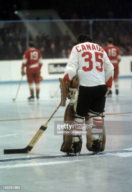 Goalie Tony Esposito of Canada stands on the ice before Game 5 of the 1972 Summit Series against the Soviet Union on September 22 1972 at the...