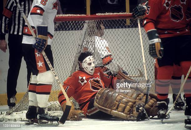 Goalie Tony Esposito of the Chicago Blackhawks and Team West makes the save during the 26th NHL AllStar Game against Team East on January 30 1973 at...